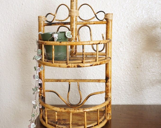 Bohemian Bamboo Rattan Hanging / Standing Two Tiered Shelf