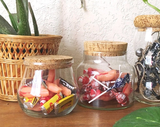 Variety of Clear Glass Apothecary Jar with Cork Lid - Multiple Selections
