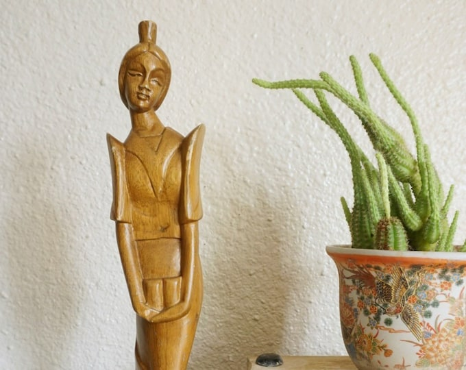 """Tall 18.5"""" Vintage Carved Wooden Japanese Woman Statue"""