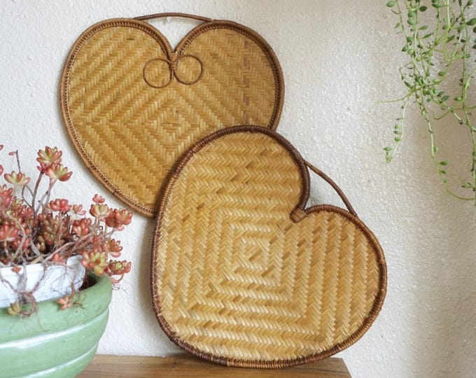 Large Heart Shaped Woven Rattan Flat Basket