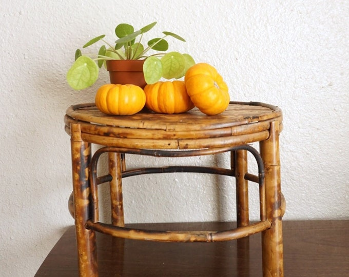 Vintage Bamboo Rattan Oval Plant Stand / Table / Planter / Stool
