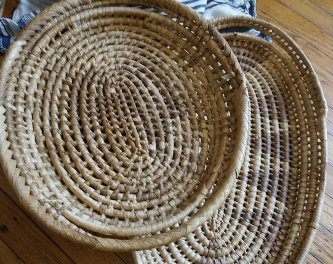 Large Woven Straw Raffia Grass Basket Tray - Two Sizes