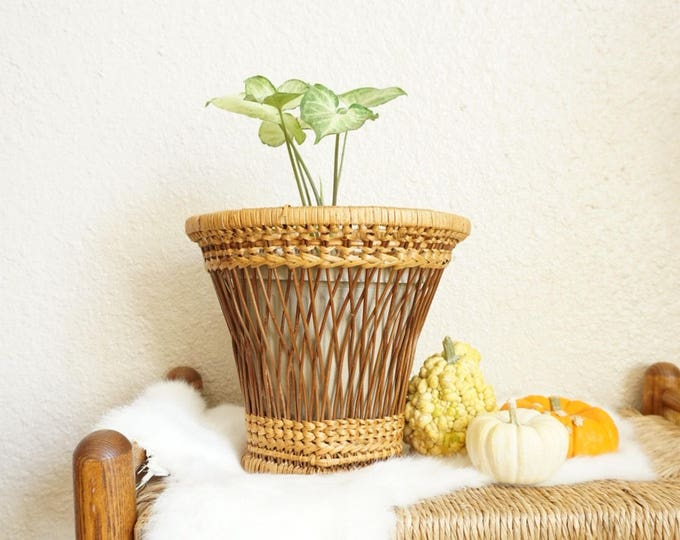 Tall Wicker Stick Tapered Basket Planter