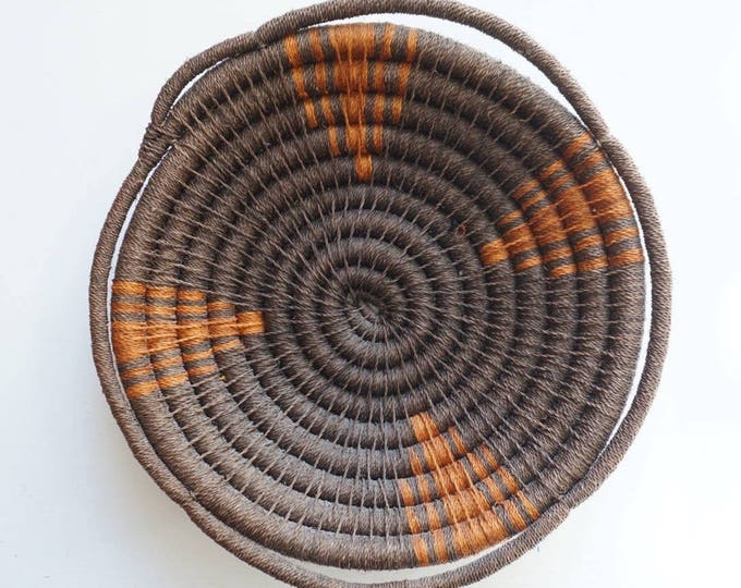 Large Thick Coiled Brown Native American Basket with Flared Rim