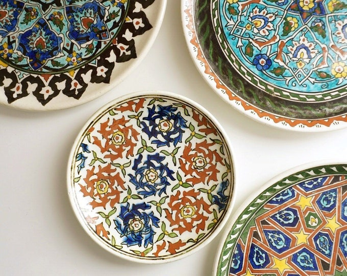 Set of 4 Vintage Turkish Colorful Handpainted Hanging Wall Plates