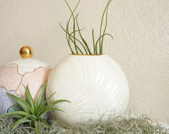 Vintage White Round Iridescent Glaze Porcelain Vase with Gold Trim