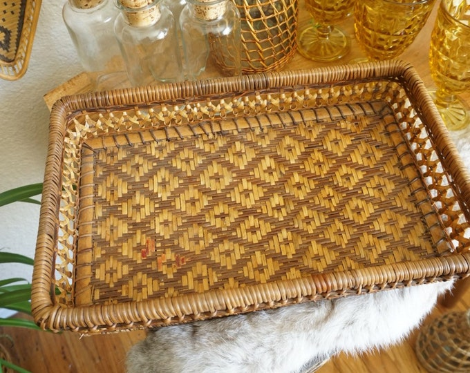 Vintage Geometric Woven Rattan Rectangle Tray Basket