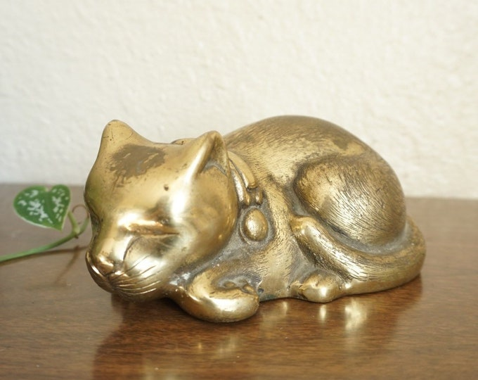 Vintage Brass Sleeping Cat Kitten Statue Figurine