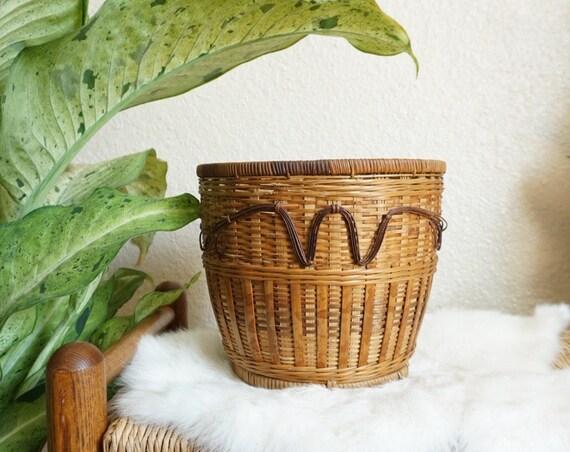 Two-Toned Brown Woven Wicker Rattan Basket / Planter / Pot