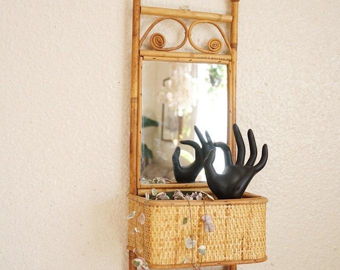 Bohemian Bamboo Rattan Mirrored Wall Shelf with Rack
