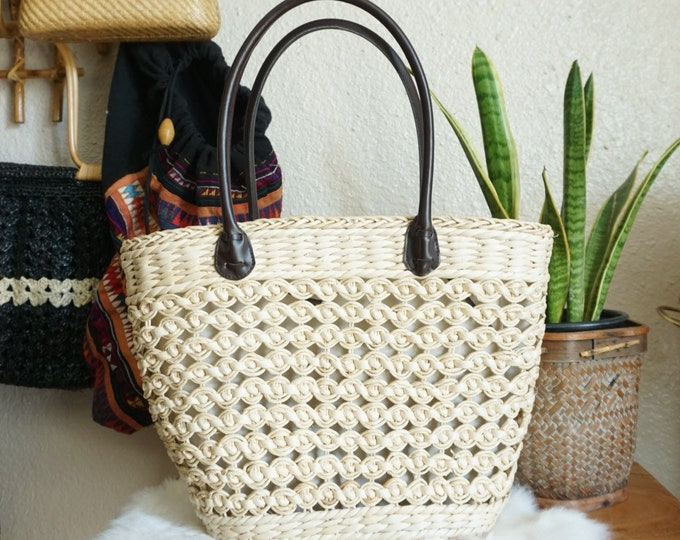 White Woven Corn Husk Straw Boho Bag Tote with Black Handles