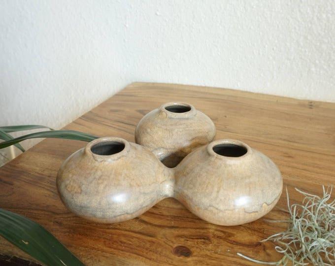 Unique Three Holed Ceramic Vessel / Planter / Vase