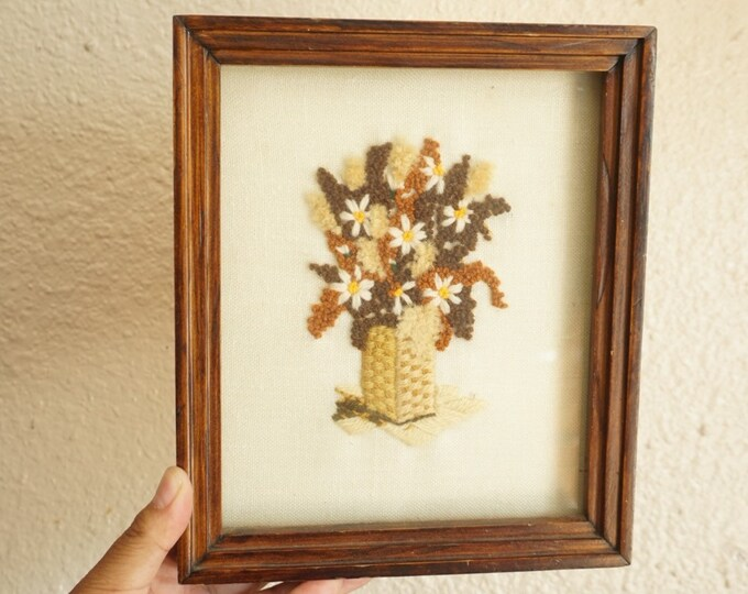 Small Shadow Boxed Framed Floral Bouquet Crewel Art