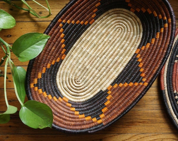 Vintage Tribal Brown Orange Black Oval Woven Straw Coil Basket
