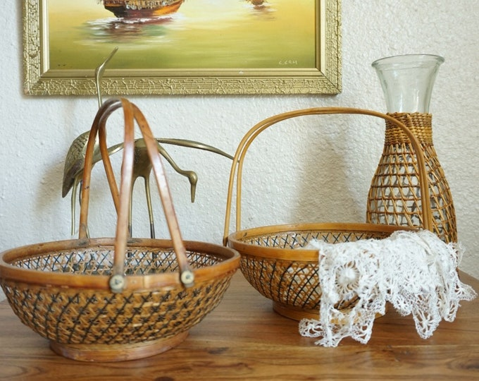Intricately Open Weave Wicker Rattan Basket Pair with Wood Handles