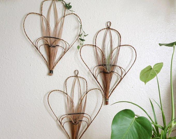Large Woven Wicker Rattan Wall Hanging Heart Fan / Pocket