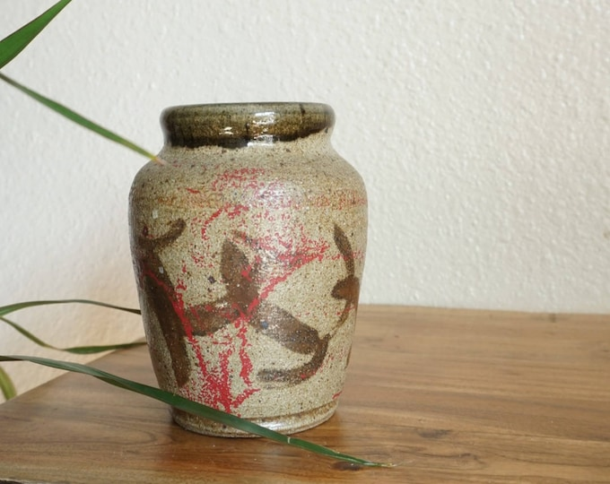 Vintage 1997 Earthtone Ceramic Vase with Red Splatter Design