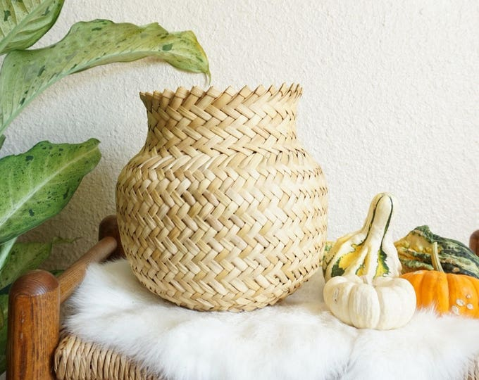 Tapered Woven Seagrass Basket Planter / Vase / Pot