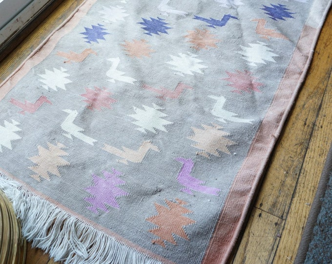 Vintage Pastel Southwestern Bird Motif Woven Rug / Wall Tapestry