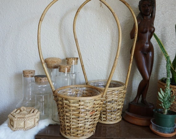 Vintage Brown Rattan Wicker Basket with Large Tall Handle