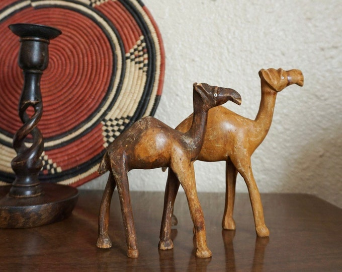 Pair of Handcarved Wooden Camel Figurines