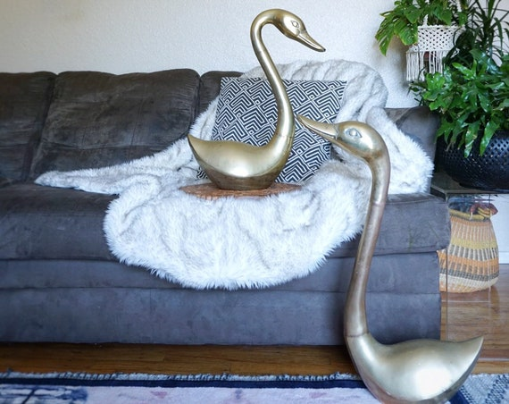 "Giant 28"" Extra Large Mid Century Solid Brass Swan Duck - Pair of Two"