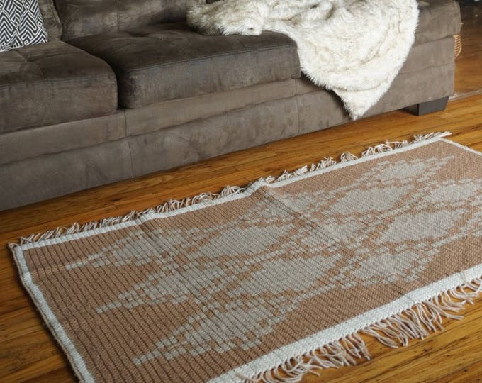 Large Thick Vintage Brown Southwestern Motif Crochet Fringed Rug / Blanket / Tapestry