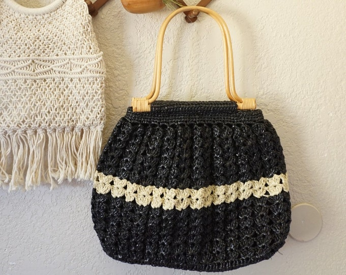 Black and White Woven Corn Husk Straw Boho Bag Tote with Wooden Handles