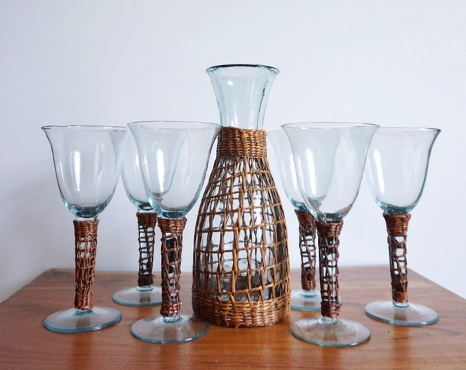 Set of 6 Woven Wicker Clear Wine Glass Set with Matching Pitcher