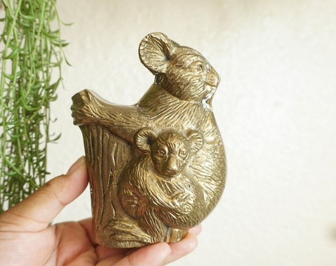 Vintage Solid Brass Koala Bear Mother and Baby