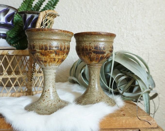 Tall Vintage Brown Speckled Ceramic Goblets - Set of 2