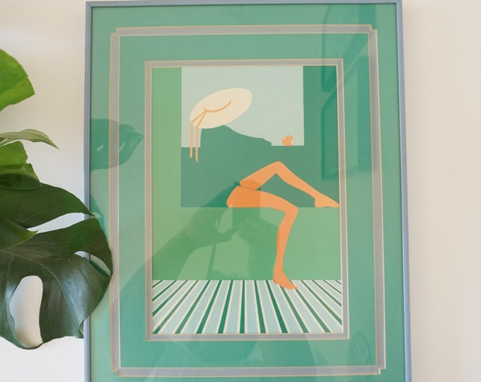 Vintage Green Woman with Sun Hat and Apple Linocut Framed Print