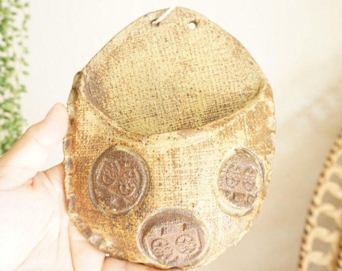Vintage Earthtone Brown and Beige Ceramic Wall Pocket / Ornament