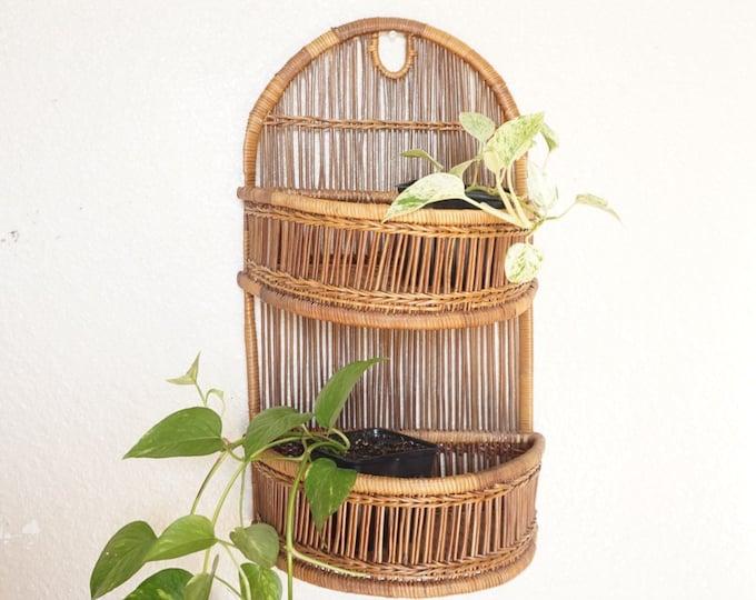 Bohemian Dark Brown Slatted Wicker Rattan Hanging / Standing Two Tiered Shelf