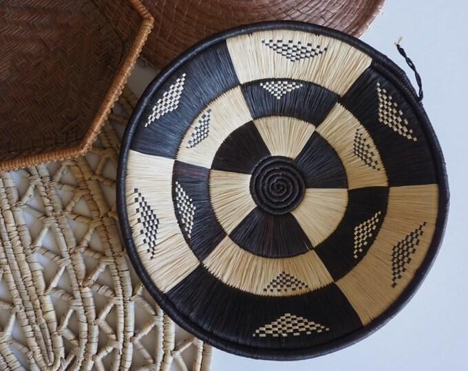 Black and White Banded Weave African Bukedo Raffia Basket