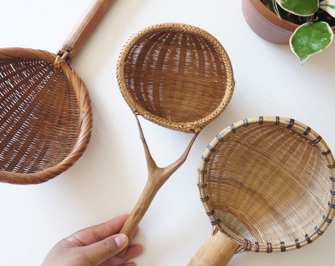 Vintage Split Rattan Wicker Basket Ladle - Multiple Selections
