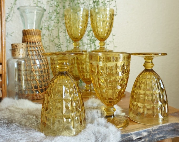 Vintage Yellow Amber Checkered Sundae Footed Glass Goblet Set of 10