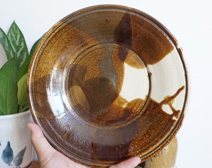Vintage 1983 Round Brown and Cream Ceramic Platter / Dish / Plate