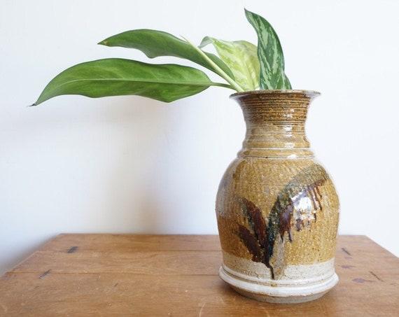 Tall 1977 Earth Toned Brown Gray Ceramic Vase / Jar / Vessel - Handmade Studio Pottery