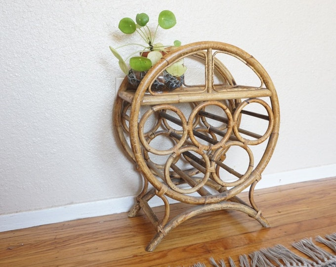 Round Vintage Bamboo Wine Rack / Plant Stand / Side Table