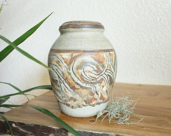 Tall Brown Swirled Design Studio Pottery Ceramic Vase / Pot / Vessel
