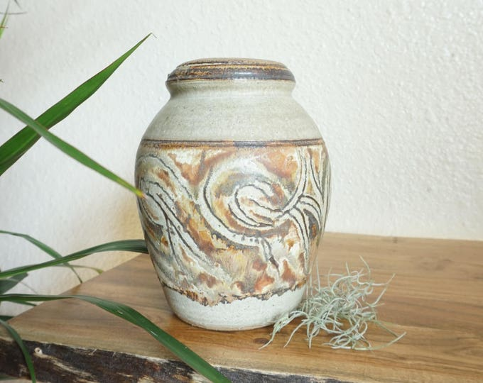 Tall Brown Swirled Design Studio Pottery Ceramic Vase / Pot / Vessel