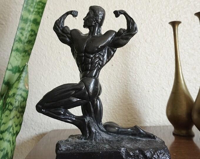 Incredible Black Resin Bodybuilding Man Sculpture