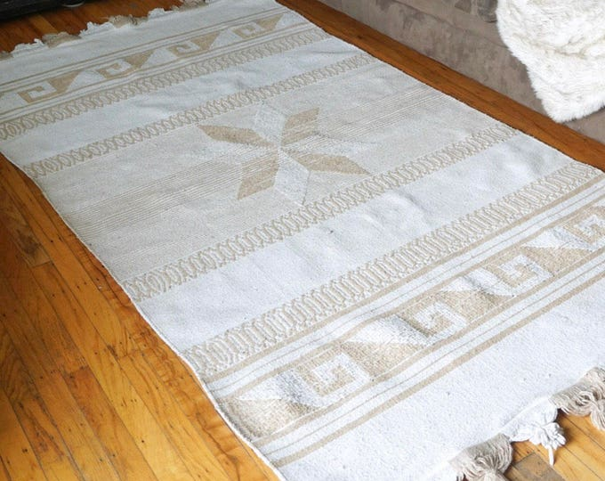 Vintage Off White Cream and Beige Brown Motif Woven Mexican Rug / Wall Tapestry 6.8' x 4'
