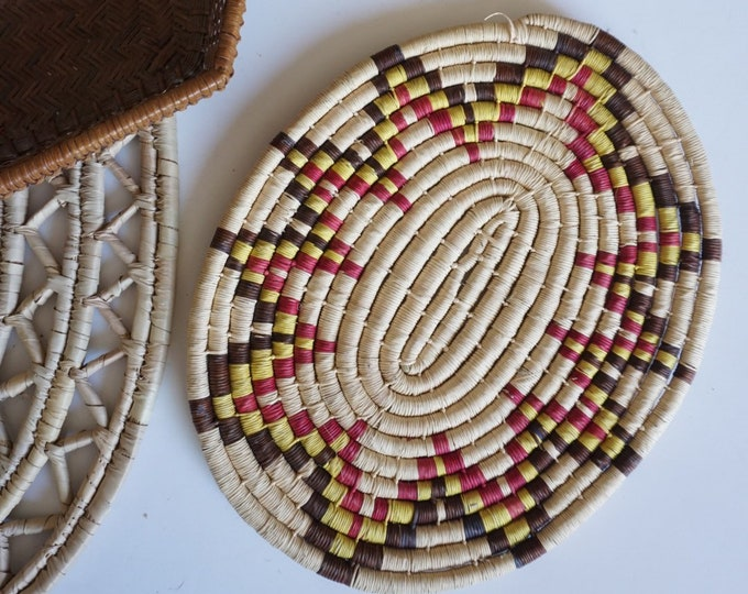 Colorful Lutindzi African Grass Coiled Straw Trivet / Flat Basket / Placemat