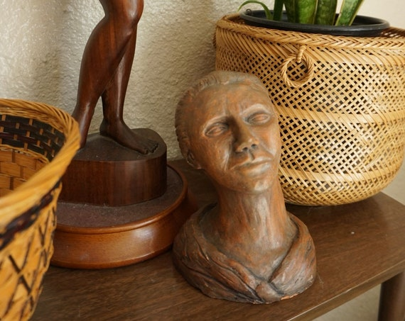 Vintage Clay Female Woman Face Bust Folk Art Sculpture