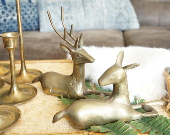 Vintage Solid Brass Stag Deer Pair of Two