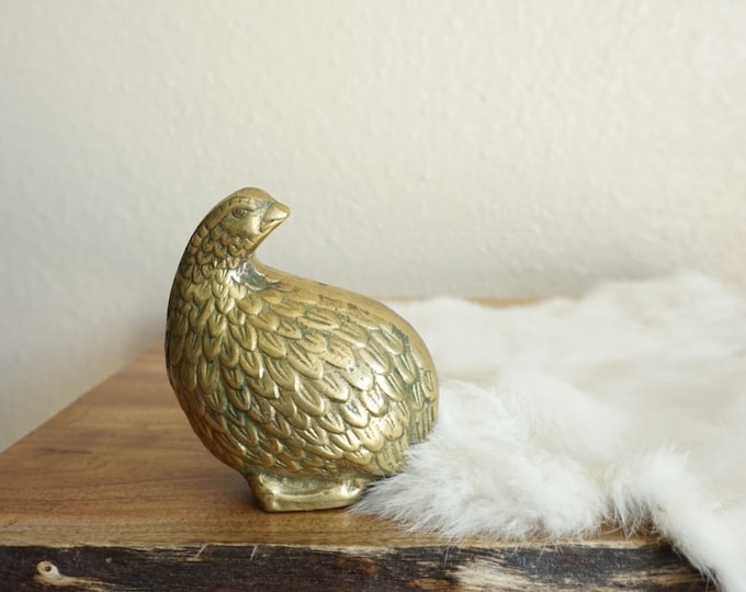 Vintage Solid Brass Partridge Quail Bird Figurine