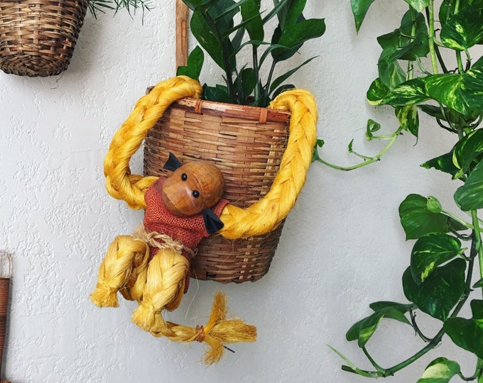 Vintage Mid Century Rope Monkey Hanging Doll Figure