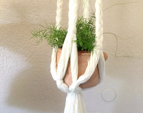 Long White Braided Macrame Hanging Planter